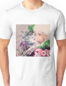 Girl with white hair and text explosion effect Unisex T-Shirt