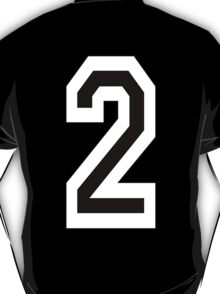TEAM SPORTS, NUMBER 2, TWO, SECOND, Competition, White on Black T-Shirt