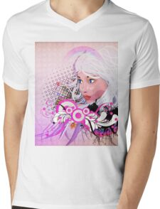 Grunge background with girl and floral Mens V-Neck T-Shirt