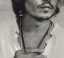 Black and White Johnny Depp Sticker