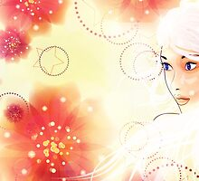 Girl on grunge floral background with abstract flowers by AnnArtshock