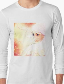 Girl on grunge floral background with abstract flowers Long Sleeve T-Shirt