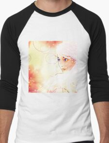 Girl on grunge floral background with abstract flowers Men's Baseball ¾ T-Shirt