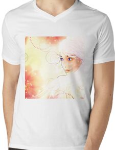 Girl on grunge floral background with abstract flowers Mens V-Neck T-Shirt