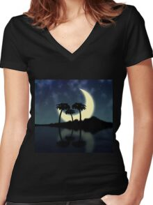 Big moon and island Women's Fitted V-Neck T-Shirt