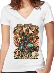 Bad Bug Women's Fitted V-Neck T-Shirt