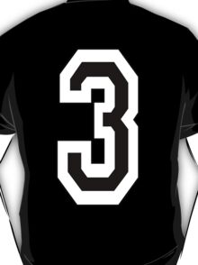 TEAM SPORTS, NUMBER 3, THREE, THIRD, Competition, White on Black T-Shirt