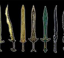 Swords Of Skyrim Pixel Art by Elise V.