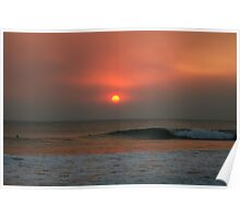 Last Waves at Sunset Poster