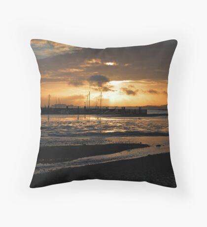 Sunset over Whitecliff Bay Throw Pillow