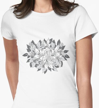 gray roses Womens Fitted T-Shirt