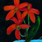Bright Orange Flowers In A Bright Blue Pot by Carliss Mora