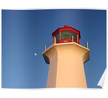 Moon rising over head of Peggys Cove Lighthouse Poster