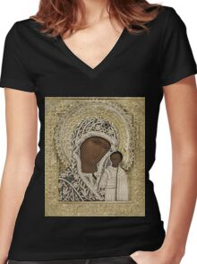 Russian Icons Women's Fitted V-Neck T-Shirt
