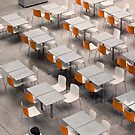 orange backed chairs by Michael Douglass