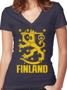 FINLAND-LION Women's Fitted V-Neck T-Shirt