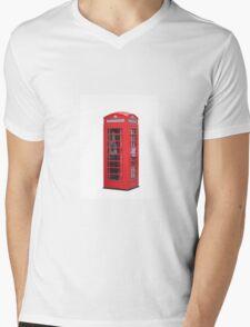 Red Telephone Box Mens V-Neck T-Shirt