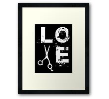 Cool Scissor Love Shears Hair Stylist T-Shirt Framed Print