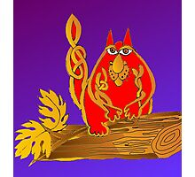 Celtic cat in red and gold Photographic Print