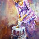Ballerina Tying The Ribbons - Dance Art Gallery 1 by Ballet Dance-Artist