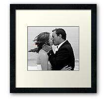 Bride and Groom Kiss Framed Print