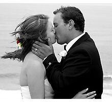 Bride and Groom Kiss Photographic Print