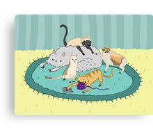 Caturday Pile Canvas Print