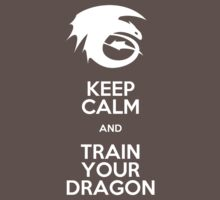 Keep calm and train your dragon WHITE FONT Kids Clothes