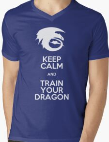 Keep calm and train your dragon WHITE FONT Mens V-Neck T-Shirt