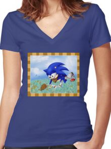 Sonic and the Hedgehog Women's Fitted V-Neck T-Shirt