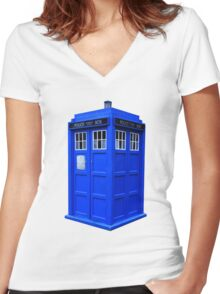 The Tardis Women's Fitted V-Neck T-Shirt