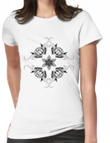 black vintage pattern Womens Fitted T-Shirt