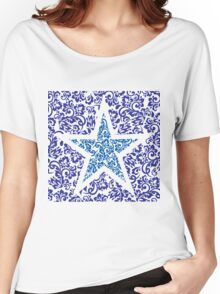 blue floral star Women's Relaxed Fit T-Shirt