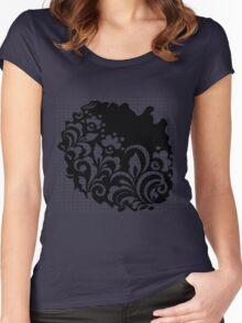 b&w flowers Women's Fitted Scoop T-Shirt