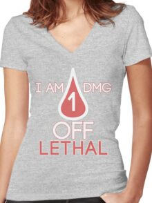 Forsen - 1 DMG off Lethal Women's Fitted V-Neck T-Shirt