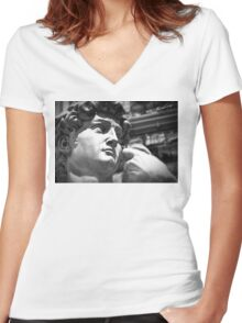 the David, Florence Tuscany Women's Fitted V-Neck T-Shirt