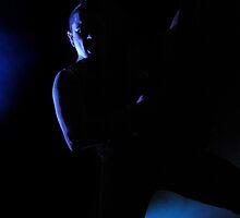 Bassist in Black in Low Light by Stuart Blythe