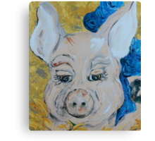 Blue Ribbon Pig Canvas Print