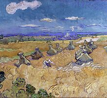 Vincent van Gogh - Wheat Stacks with Reaper - 1888 by forthwith