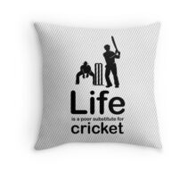 Cricket v Life - Black Graphic Throw Pillow