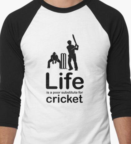 Cricket v Life - Black Graphic Men's Baseball ¾ T-Shirt