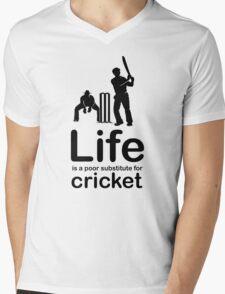 Cricket v Life - Black Graphic Mens V-Neck T-Shirt