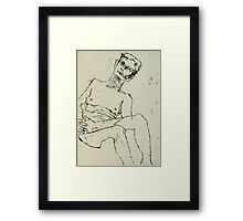 fara monoprint - sitting with clasped hands Framed Print