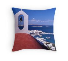 Greece. Cyclades Islands. Mykonos. Greek Orthodox Church and the harbour in Mykonos Town. Throw Pillow