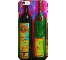 Wine Bottle Quartet on a Blue Patched Wall iPhone Case/Skin
