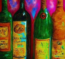 Wine Bottle Quartet on a Blue Patched Wall by EloiseArt