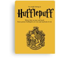 Hufflepuff Badgers Typography Pillow Canvas Print