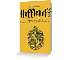 Hufflepuff Badgers Typography Pillow Greeting Card