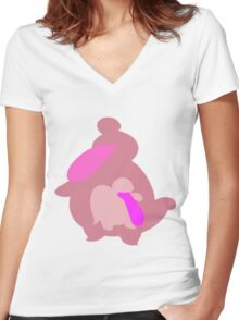 The Licking Monster Women's Fitted V-Neck T-Shirt