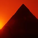 Egypt. Cairo. Giza. Sunset behind The Sphinx and Chephren Pyramid. by Steve Outram